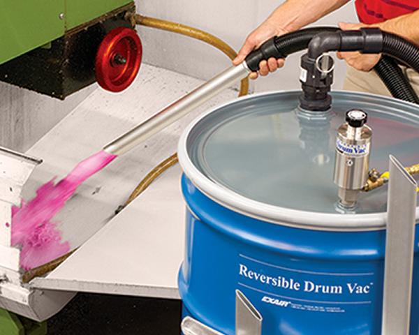 Aspiradora neumática DrumVac Exair regresa refrigerante a centro de maquinado.