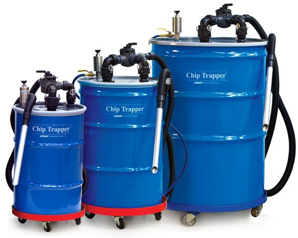 Aspiradora neumática para limpieza de CNC Exair ChipTrapper disponible en varios tamaños.