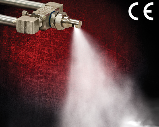 Boquilla Atomizadora de líquidos Exair crea una nebulización fina para humidificar el ambiente