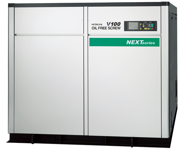 Compresor de tornillo libre de aceite de dos etapas con variador de velocidad con una potencia nominal de 100 kw.