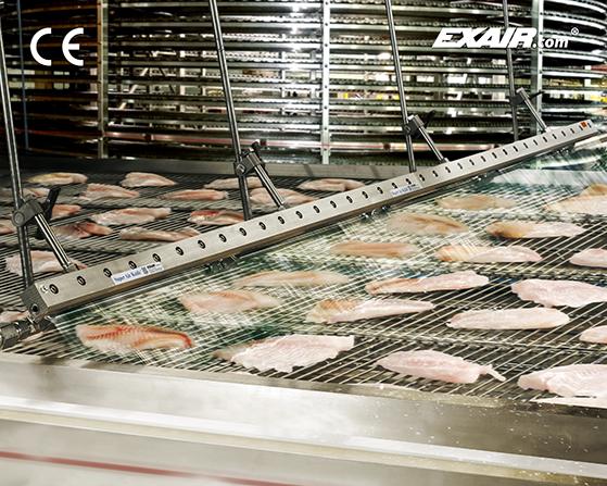 Cortina Exair de acero inoxidable grado alimenticio sopletea filetes de pescado antes de empaque.