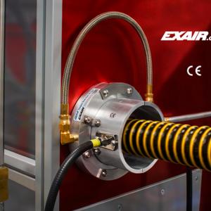 Cortina de aire circular de iones Exair Ion Air Wipe es fácil de instalar gracias a su diseño puede ubicarse justo en el punto de uso.