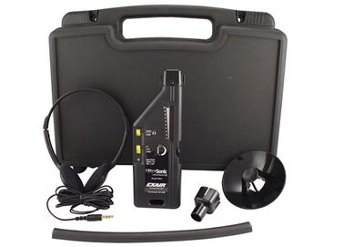 Detector ultrasónico de fugas Exair con estuche y accesorios incluidos.
