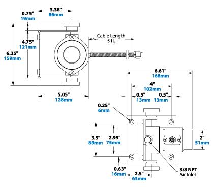 Dimensiones de cañón de iones Exair