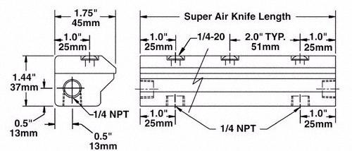Dimensiones de cortina de aire super air knife Exair de aluminio.
