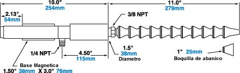 Dimensiones del sistema de refrigeración Cold Gun de Exair.