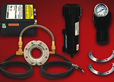 El Kit de la cortina de aire circular de iones Exair Ion Air Wipe incluye fuente de poder, filtro, regulador y lainas de ajuste.