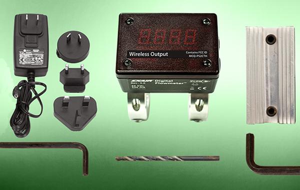 El flujómetro digital Exair incluye eliminador, guías de perforación, herramientas de ajuste y brocas.