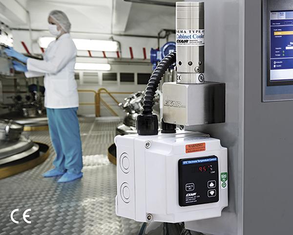 Enfriadores de Tablero Exair NEMA 4 en acero inoxidable con control electrónico de temperatura.