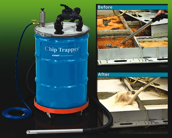 La aspiradora neumática para CNC limpia la reserva de refrigerante en una máquina