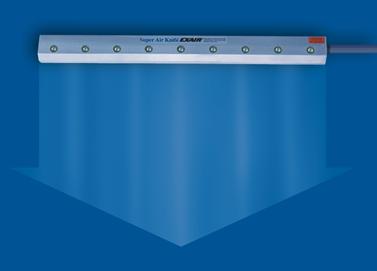 La cortina Exair produce un flujo de aire uniforme a lo largo de toda su longitud.