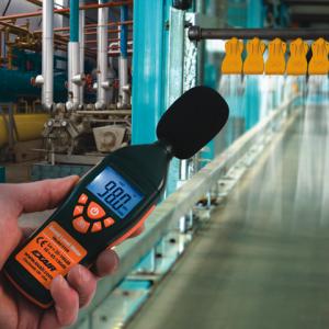 Medidor digital de nivel de ruido Exair mide dBA.