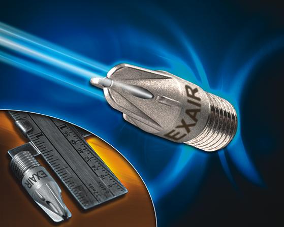 Nano boquillas de aire Exair para sopleteo de alta precisión.