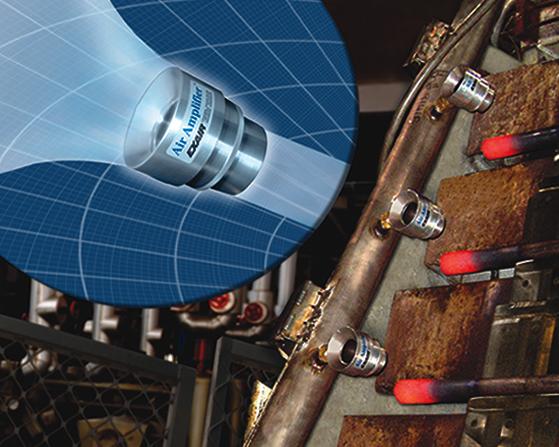 Súper amplificador de flujo de aire ajustable enfría acero al rojo vivo después de tratamiento térmico.