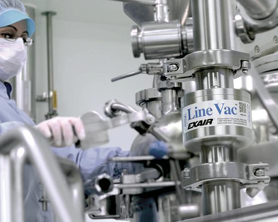 Transportador neumático LineVac Exair de acero inoxidable con conexión sanitaria para aplicaciones de alta inocuidad.
