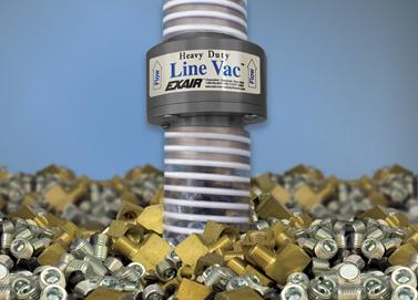 Transportador neumático LineVac Exair de uso rudo mueve piezas pesadas de metal duro.