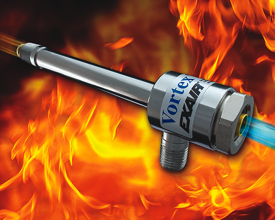 Tubo Vortex Exair está construido totalmente de acero inoxidable, por lo que puede operar en ambientes de muy alta temperatura.