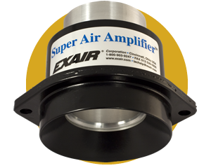 Amplificadores de aire Exair para mover grandes volúmenes de aire instantáneamente con bajo consumo de aire comprimido.
