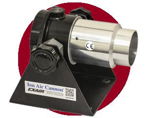 Eliminadores de Estática Exair - Generan una corriente de aire ionizado para eliminar cargas electroestáticas en superficies no conductoras.