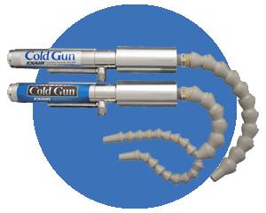 Pistolas de aire frío - Utilizan tubos vortex para crear una solución para maquinado en seco o enfriamiento de corte láser.